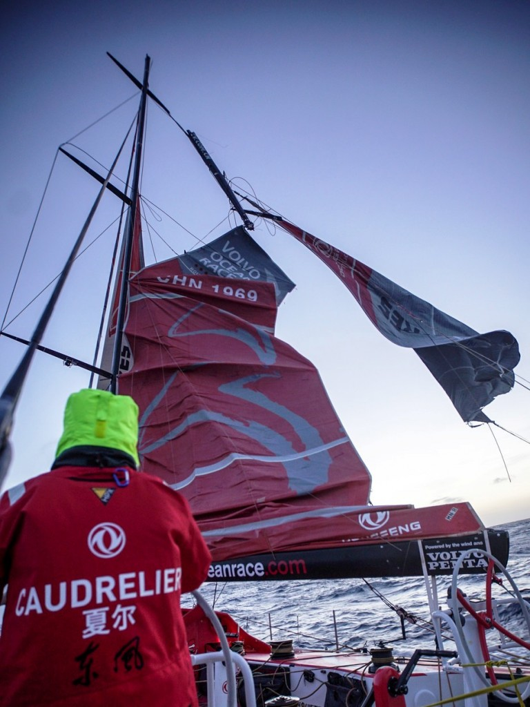 March 30, 2015. Leg 5 to Itajai onboard Dongfeng Race Team. Day 12. Dongfeng Race Team's mast broke above the third spreader - the top section of the mast - 240 nautical miles west of Cape Horn at 0315 UTC on Monday, in the final hours of the night. Fortunately nobody has been injured and there is no immediate danger to the crew.
