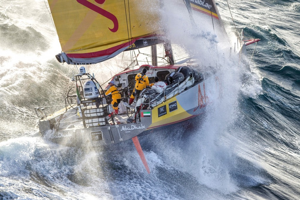 March 19, 2015. The boats tackle steep and angry seas as they pass East Cape, the eastern-most point of New Zealand