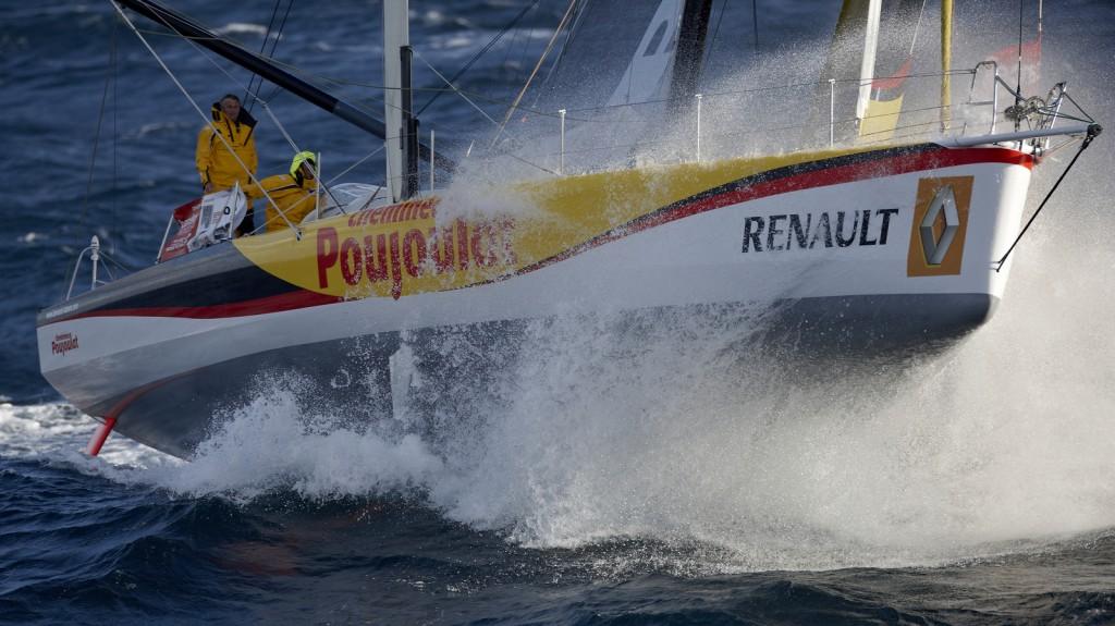 "2014 BARCELONA WORLD RACE. Bernard Stamm (SUI) & Jean Le Cam (FRA) on ""CHEMINEES POUJOULAT"""